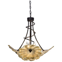 Feather 4 Light 25 inch Beige and Tiffany Bronze Hanging Fixture Ceiling Light