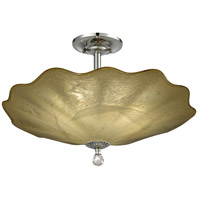 Feather 3 Light 20 inch Beige and Polished Chrome Semi-Flush Mount Ceiling Light