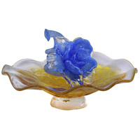 Blue Flower On Plate Art Glass Sculpture