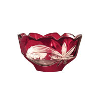 Dale Tiffany Red Floral Bowl GA80586 photo thumbnail