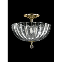 Sereno 3 Light 12 inch Polished Brass Flush Mount Ceiling Light