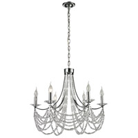 Impressionistic 6 Light 26 inch Polished Chrome Chandelier Ceiling Light