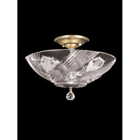 Grove Park 3 Light 13 inch Polished Brass Flush Mount Ceiling Light in Solid Crystal