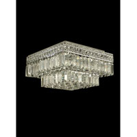 Crystal 5 Light 14 inch Polished Chrome Flush Mount Ceiling Light