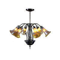 Dale Tiffany Lilies Favrile Fixture 6 Light in Antique Brass MH100326 photo thumbnail