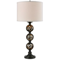Dale Tiffany Mosaic 3 Ball Art Glass Table Lamp 1 Light in Dark Antique Bronze PG10353