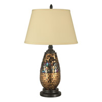 Dale Tiffany Antique Gold Mosaic Table Lamp 1 Light in Dark Antique Bronze PG10362 photo thumbnail