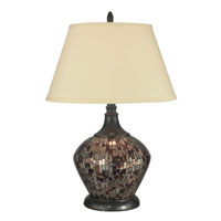 Dale Tiffany Amber Shell Mosaic Table Lamp 1 Light in Dark Antique Bronze PG10363 photo thumbnail