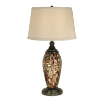 Dale Tiffany Mosaic Oval Art Glass Table Lamp 1 Light in Dark Antique Bronze PG10411