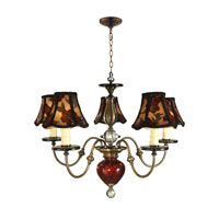 Dale Tiffany Alton 5 Light Chandelier in Antique Brass PG90069