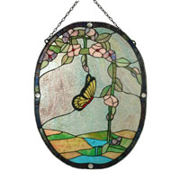 Dale Tiffany SC0031 Butterfly Beaded Window Panel photo thumbnail