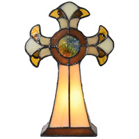 Dale Tiffany STA16122 Cross 9 inch 7 watt Tiffany Art Glass Accent Lamp Portable Light