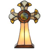 Dale Tiffany STA16122 Cross 9 inch 7 watt Tiffany Art Glass Accent Lamp Portable Light