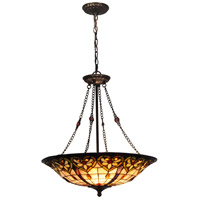 Dale Tiffany STH15010 Mccartney 3 Light 20 inch Tiffany Bronze Inverted Hanging Fixture Ceiling Light