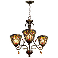 Dale Tiffany STH15012 Peony 3 Light 25 inch Tiffany Bronze Hanging Fixture Ceiling Light