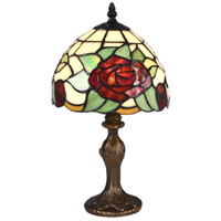 Indian Rose 15 inch 60 watt Antique Bronze Accent Lamp Portable Light