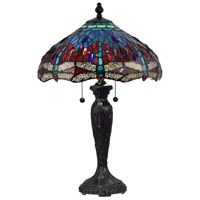 Dale Tiffany STT18142 Gilder Dragonfly 28 inch 75 watt Fieldstone Table Lamp Portable Light