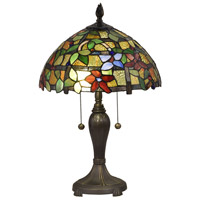 Dale Tiffany STT18143 Valencia Floral 22 inch 75 watt Antique Brass Table Lamp Portable Light