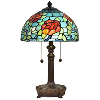 Dale Tiffany STT18146 Crimson Rose 20 inch 75 watt Antique Bronze Table Lamp Portable Light