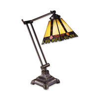 Dale Tiffany Geo Swing Green Square 1 Light Table Lamp in Antique Brass TA100114