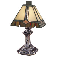 Castle Cut 11 inch 25 watt Antique Bronze  Mini Table Lamp Portable Light