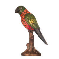 Dale Tiffany Orange And Yellow Parrot Accent Lamp 1 Light in Antique Bronze Paint TA100960