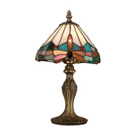 Dale Tiffany Tiffany Jewel Dragonfly Accent Lamp 1 Light in Antique Brass Plating TA10606
