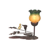 Dale Tiffany Tiffany Tulip Accent Lamp - Green Amber 1 Light in Antique Bronze Paint TA10799 photo thumbnail