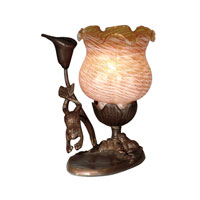 Dale Tiffany Tiffany Tulip Accent Lamp - Amber 1 Light in Antique Bronze Paint TA10810