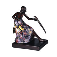 Dale Tiffany Woman With Bird Accent Lamp 1 Light in Antique Bronze Plating TA10875 photo thumbnail