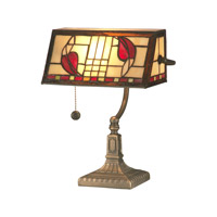 Dale Tiffany Henderson Bankers Accent Lamp 1 Light in Antique Brass Plating TA11010