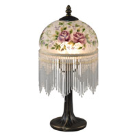 Dale Tiffany Rose 1 Light Table Lamp in Antique Brass TA15006