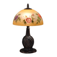 Dale Tiffany Rose 2 Light Table Lamp in Antique Golden Bronze TA15007