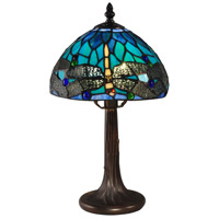 Dragonfly 14 inch 60 watt Antique Brass Table Lamp Portable Light
