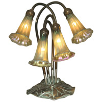 Dale Tiffany Lily 4 Light Table Lamp in Antique Bronze/Verde TA15132