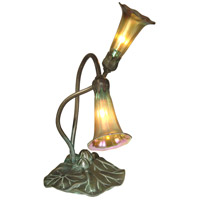 Lily 15 inch 25 watt Antique Bronze/Verde Table Lamp Portable Light