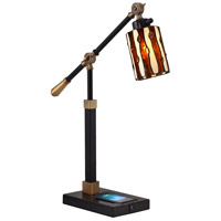 Dale Tiffany TA18217WU Diamond Hill 24 inch 60 watt Black Desk Lamp Portable Light, Wireless/USB Charger