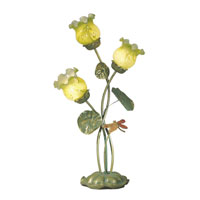 Dale Tiffany Lily Pad Dragonfly Accent Lamp 3 Light in Verdigris TA50116 photo thumbnail