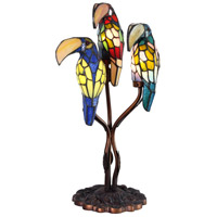 Dale Tiffany Three Parrots Table Lamp 3 Light in Antique Bronze Paint TA60179