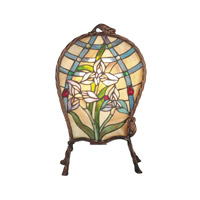 Dale Tiffany Floral Panel Accent Lamp 1 Light in Antique Brass TA60469