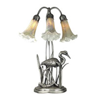 Dale Tiffany Florence Lily Accent Lamp 3 Light in Antique Pewter TA70047 photo thumbnail