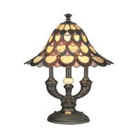 Peacock 19 inch 60 watt Antique Bronze Table Lamp Portable Light