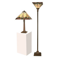 Dale Tiffany Stanton Mission Table and Torchiere Set 1 Light in Antique Brown TC11173