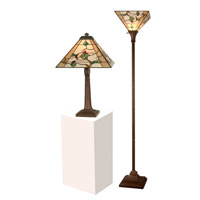 Dale Tiffany TC11174 Green Leaf 22 inch 75 watt Antique Brown Table and Torchiere Set Portable Light photo thumbnail