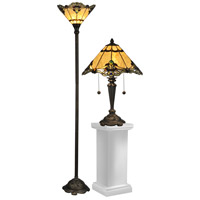 Dale Tiffany Brena 1 Light Table/Floor Lamp Set in Dark Antique Bronze TC12179