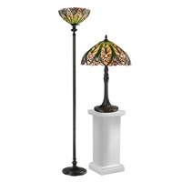 Dale Tiffany Cactus Bloom 2 Light Table/Floor Lamp Set in Antique Bronze TC12339