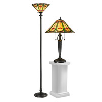 Dale Tiffany Quill 1 Light Table/Floor Lamp Set in Antique Bronze TC12340