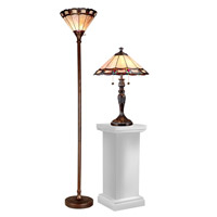 Dale Tiffany Peacock 3 Light Table and Floor Lamp Set in Dark Antique Bronze TC15045