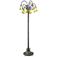 Lily 63 inch 25 watt Antique Bronze/Verde Floor Lamp Portable Light