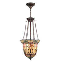 Red Baroque Foyer 3 Light 17 inch Antique Brass Hanging Fixture Ceiling Light